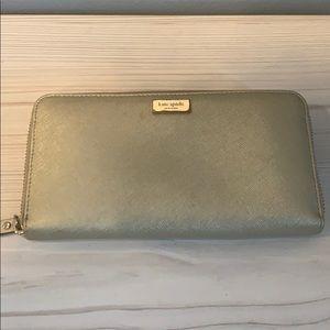 Kate Spade Gold Saffiano Zip Around Wallet